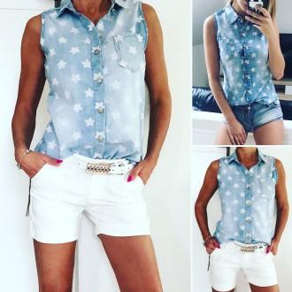 Dámské oblečení - Dámská riflová košile FASHION DENIM STAR