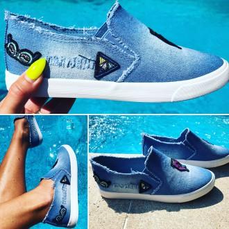 Dámská obuv - Dámské sneakersky jeans - riflové