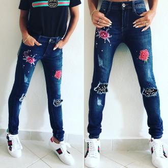 Dámské oblečení - Dámské elastické džíny ROSE