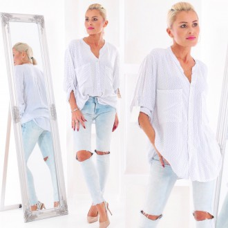 Dámské oblečení - Dámská košile Spotted WHITE