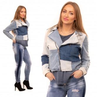 Dámské oblečení - Stylová dámská džínová bunda Color Denim