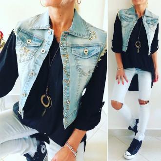Dámské oblečení - Stylová dámská džínová vesta NAOMY
