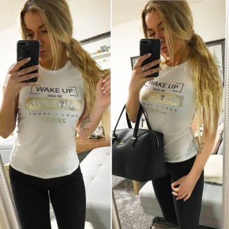 GUESS, KARL LAGERFELD, Puma - Dámské tričko GUESS white