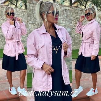 Dámské oblečení - Dámský kabátek - džínová bunda Pink