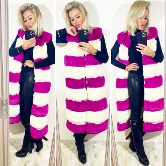 Dámské oblečení - Dámská chlupatá vesta Pink