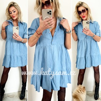 Dámské oblečení - Dámské riflové šaty AMANDA