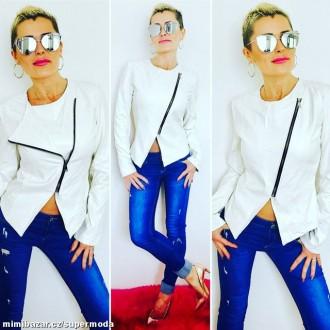 Oblečení - Stylová fashion bunda bundička křivák WHITE vel. M