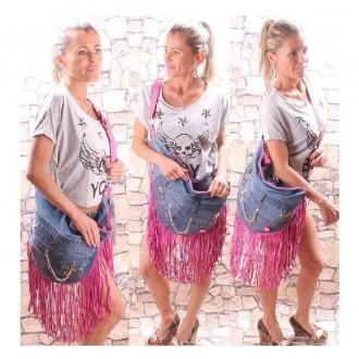 Dámské kabelky - Riflová kabelka kabela taška třásně